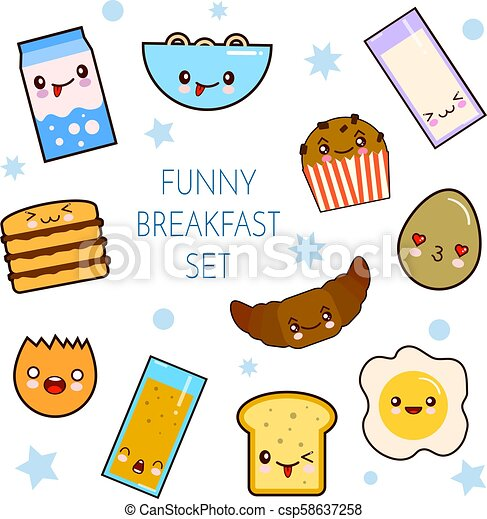 Good morning. Funny characters breakfast vector collection toasts bread, milk, fried egg. Set of cute food and drink icons in kawaii style with smiling face - csp58637258