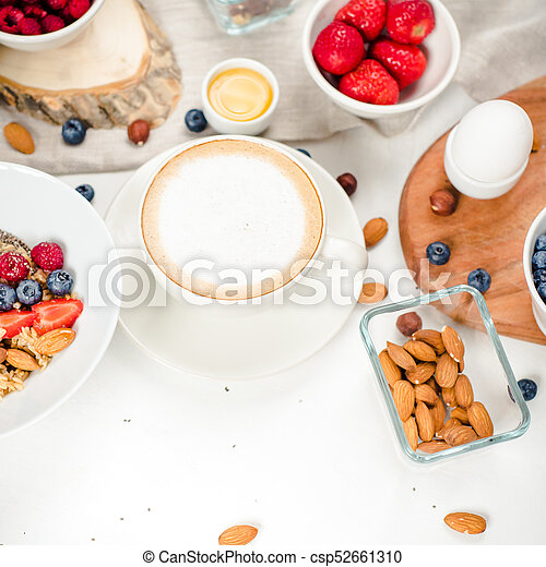 Good Morning Healthy Breakfast With Text Space Top View Healthy