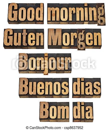 Good Morning In Five Languages English German French Spanish