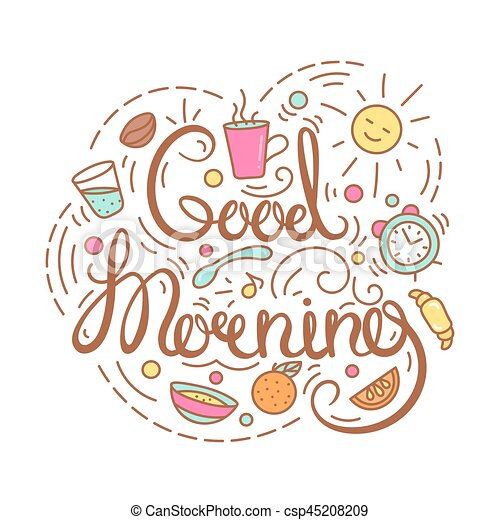 good morning text poster with breakfast items and lettering food rh canstockphoto com good morning clipart picture comments good morning clipart funny