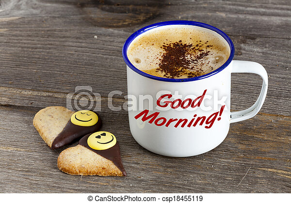 Good Morning with Coffee and Smiley Cookies - csp18455119