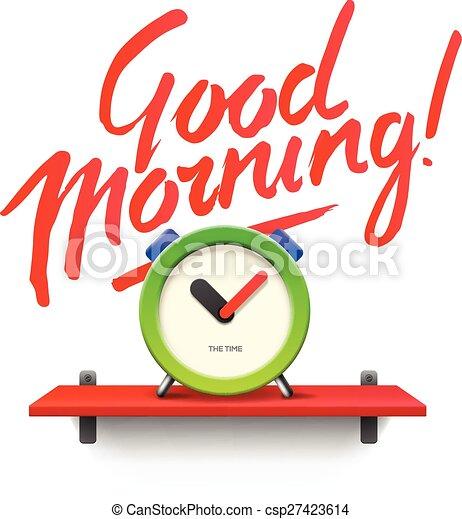 Good Morning. Workspace mock up with analog alarm clock - csp27423614