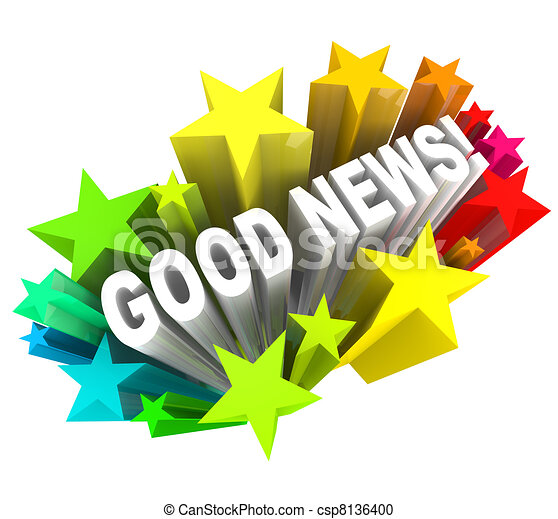 Good News Announcement Message Words in Stars - csp8136400