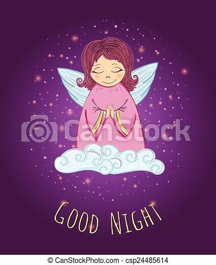 good night angel. little cute angel in a cloud. good night vector