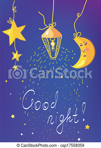 Good night banner and card for children - csp17558359