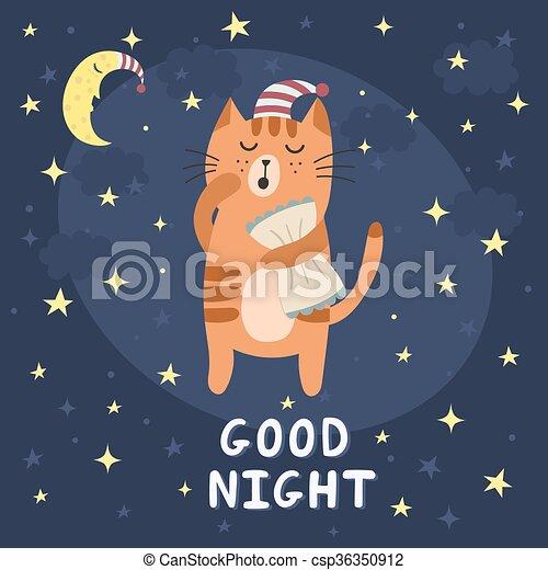 good night card with a cute sleepy cat. vector illustration vector