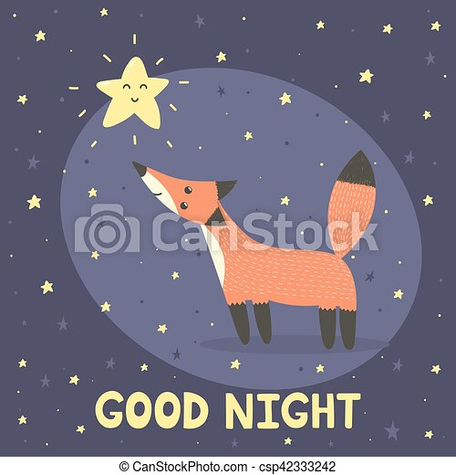 good night card with cute fox and star. vector illustration eps
