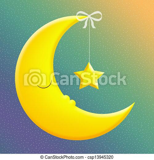 Good Night Sleeping Moon With Star