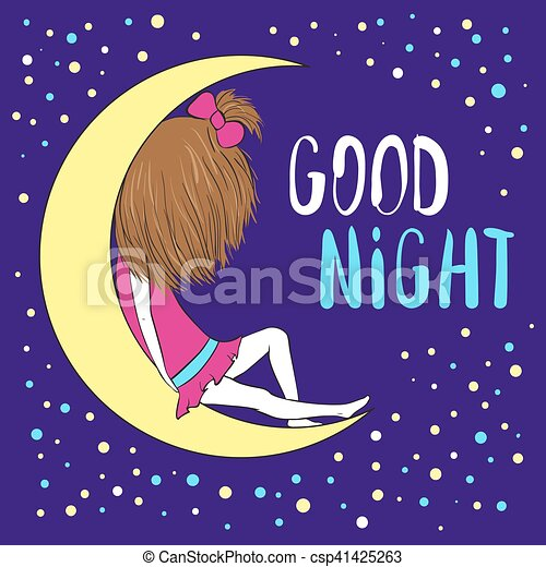good night greeting card. girl sitting on the moon. colorful clip