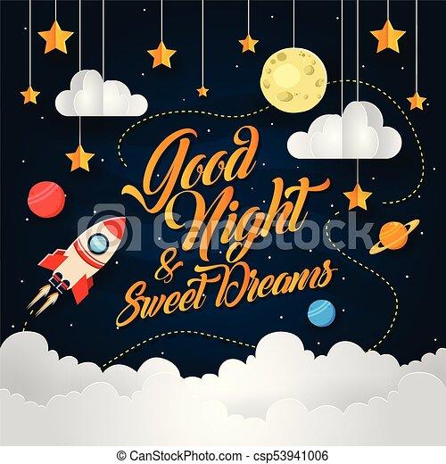 Good Night Sweet Dream Rocket Theme Vector