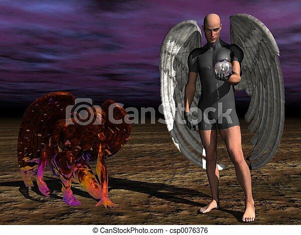 Good versus evil. - csp0076376