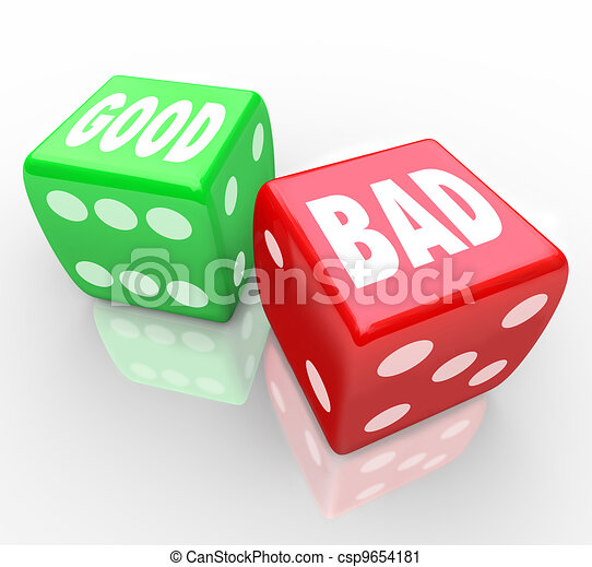 Good Vs Bad Dice Lucky Roll to Decide Answer  - csp9654181