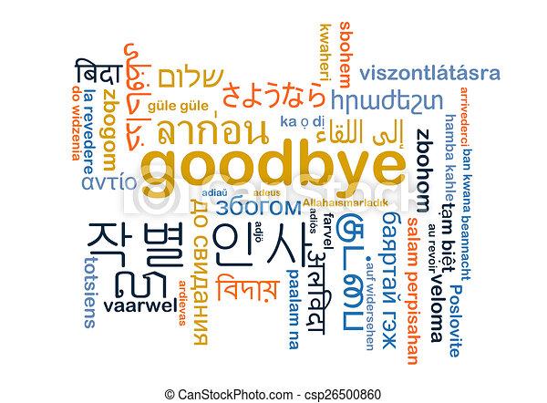 Goodbye multilanguage wordcloud background concept - csp26500860