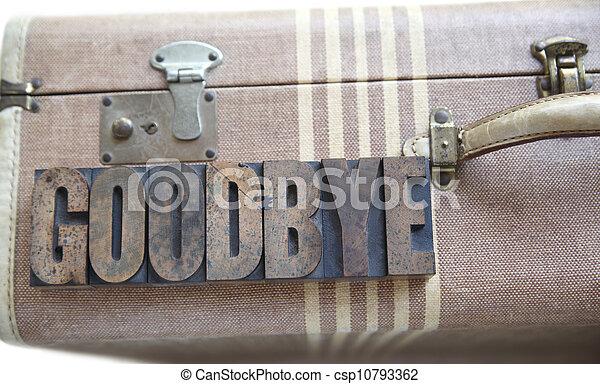goodbye word on vintage suitcase - csp10793362