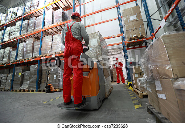 goods deliver in storehouse - csp7233628