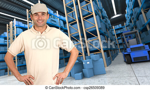 Goods reception at warehouse b - csp26509389