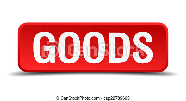 Goods red 3d square button on white background - csp22789665