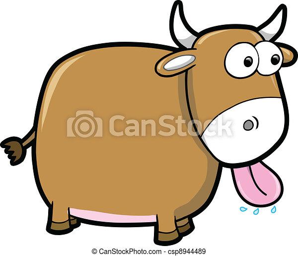 Goofy Happy Bull Cattle Animal  - csp8944489