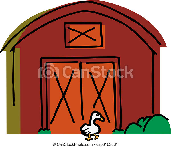 goose walks by a barn big white goose walks by a red barn vector rh canstockphoto ca