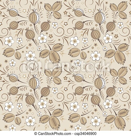 Gooseberry seamless pattern in beige color scheme - csp34046900