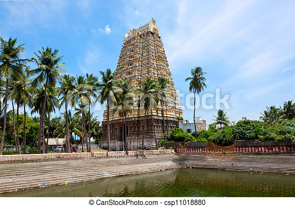 Gopura (tower) and temple tank of Lord Bhakthavatsaleswarar Temple  Built  by Pallava kings in 6th century  Thirukalukundram (Thirukkazhukundram),  near
