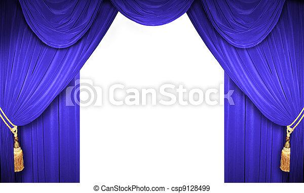 Gordijnen, open, theater. Gordijn, theater, klassiek.