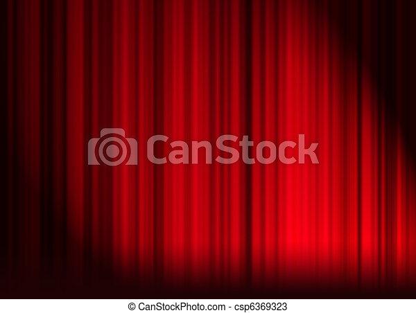 Gordijnen, rood, theater.
