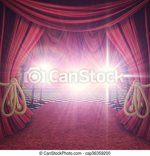 Gordijnen, rood, toneel. Decoratief, gordijnen, theater, floor ...