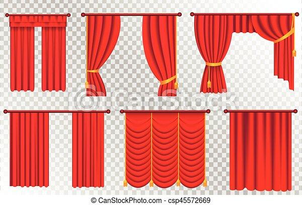 Gordijnen, theater, set., illustratie, gordijn, rood.... clipart ...