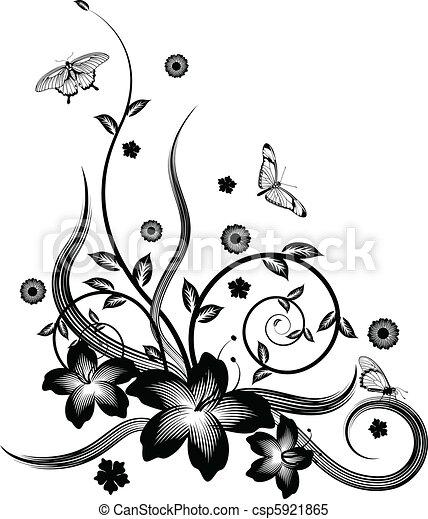 Gorgeous black corner floral design - csp5921865