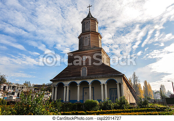 Gorgeous Colored and Wooden Churches, Chiloé Island, Chile - csp22014727
