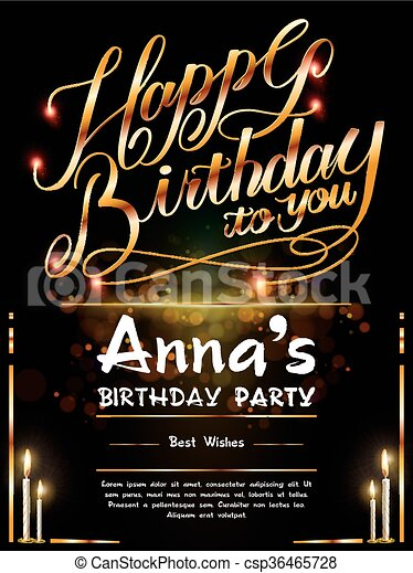 Gorgeous Happy Birthday Poster Template Design With Golden