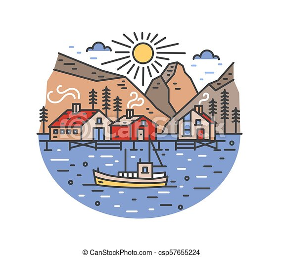 Gorgeous landscape with boat sailing in sea and passing by stilt houses, spruce trees and mountains. Marine journey or adventure travel location. Colored vector illustration in modern line art style. - csp57655224