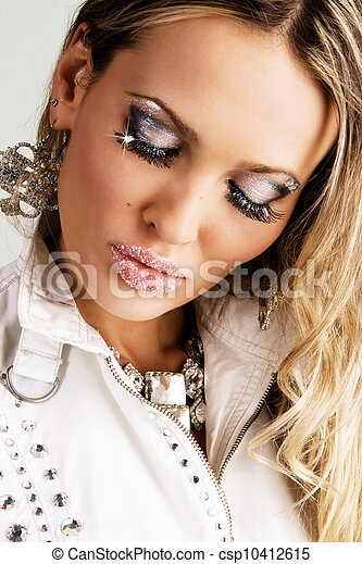 Gorgeous young woman with sugar lips - csp10412615