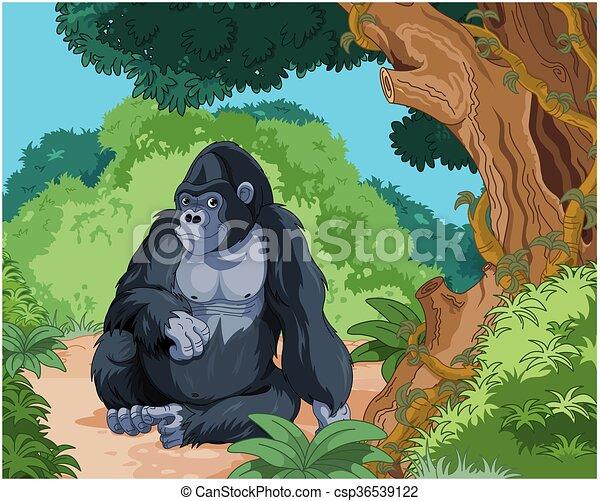 Gorila sentado - csp36539122