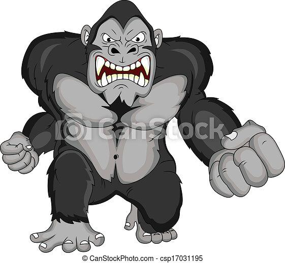 gorilla, boos, spotprent - csp17031195