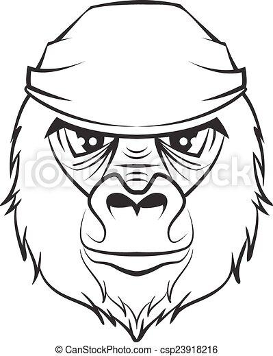 gorilla head black white drawing gorilla head black and vector rh canstockphoto com Gorilla Clip Art Black and White black and white gorilla clipart