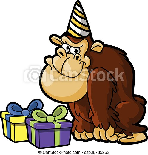 gorilla using birthday party costume clip art vector search rh canstockphoto com gorilla clipart black and white gorilla clipart png