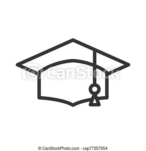 gorra, académico, graduación, icono - csp77357054