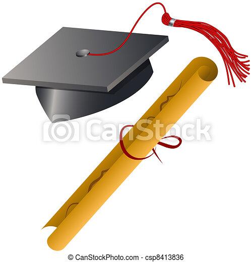 Capa de graduación y set de diploma - csp8413836