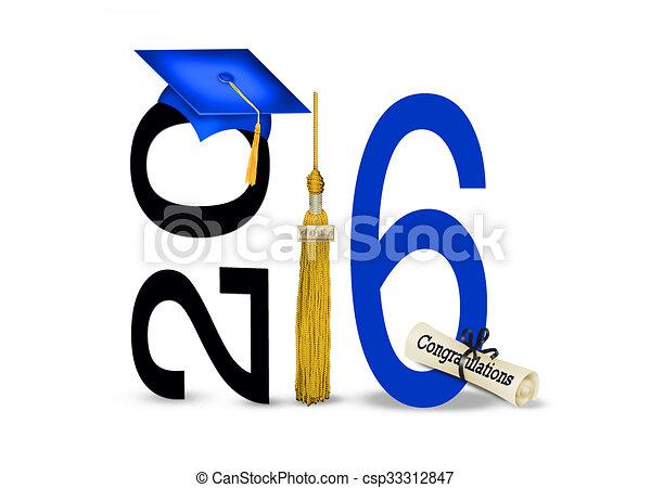 Gorra de graduación azul para 2016 - csp33312847