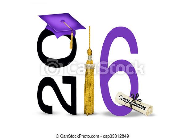Gorra de graduación púrpura para 2016 - csp33312849