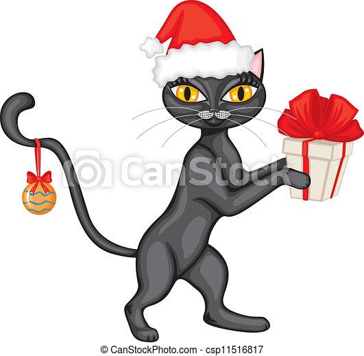 Gato en la tapa con un regalo - csp11516817