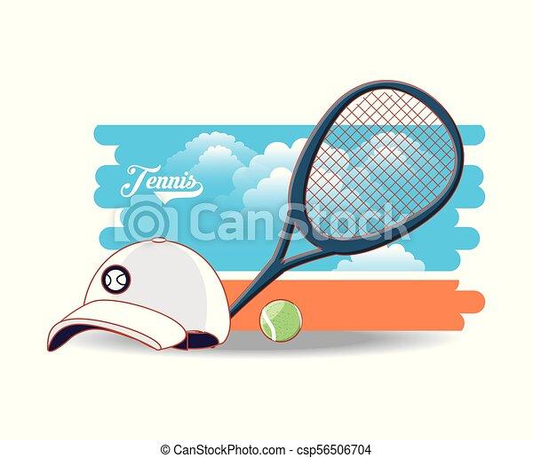 Una cancha de tenis con raqueta y pelota - csp56506704
