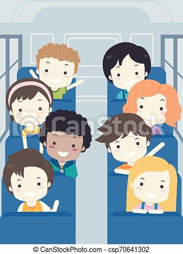 gosses école, autobus, illustration, étudiant, intérieur - csp70641302