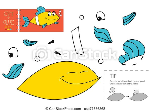 gosses, colle, préscolaire, vecteur, papier, worksheet, pédagogique, toy., coupure - csp77566368