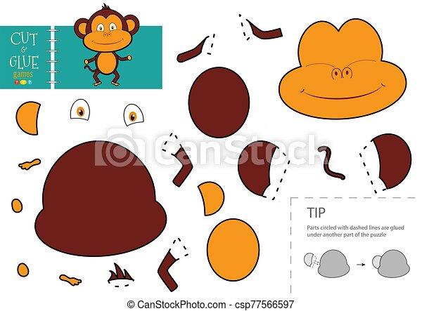 gosses, colle, préscolaire, vecteur, papier, worksheet, pédagogique, toy., coupure - csp77566597