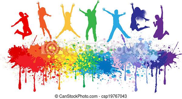 gosses, coloré, clair, sauter, eclabousse, encre - csp19767043