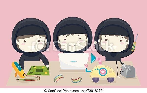 gosses, illustration, équipe, filles, musulman, robotique - csp73018273