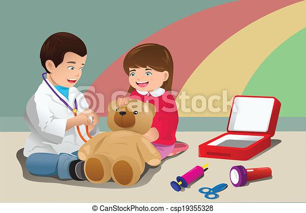 gosses, jouer, docteur - csp19355328